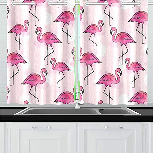 YUMOING Pink Flamingo Kitchen Curtains Window Curtain Tiers for Café, Bath, Laundry, Living Room Bedroom 26 X 39 Inch 2 Pieces