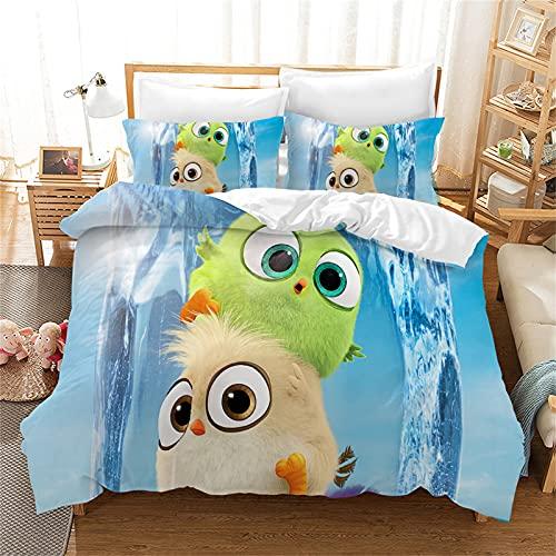 Amacigana Angry Birds - Juego de ropa de cama infantil y juvenil, microfibra, 3 piezas, 1 funda...