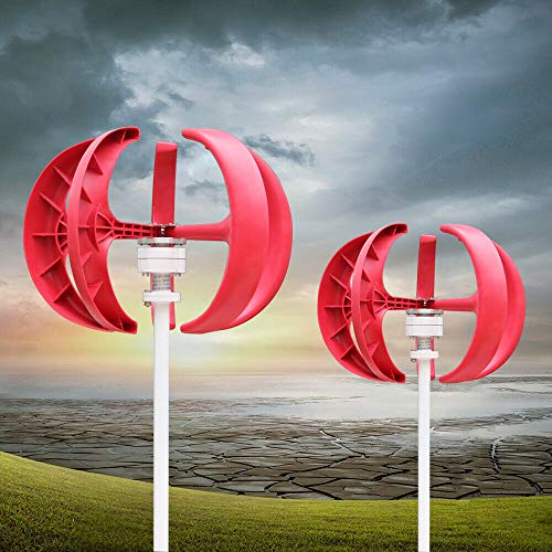 Windkraftanlage HaroldDol 600W 12V Windturbine Generator Rot Laterne Vertikale Windgenerator 5 Blätter Windkraftanlage mit Controller
