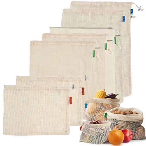 Viedouce Reutilizable Producir Bolsas,Bolsa de Producción Reutilizable Algodón Orgánico para Fruta Vegetal,Bolsas de Malla Reutilizables,Lavable Bolsa de Compras (7 Paquete)