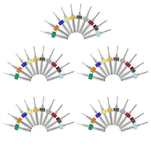 Trapano Punte Set di punte da trapano per PCB da 50 pezzi Flauto a spirale per incisione su pietra CNC per circuito stampato (5 pezzi ciascuno)
