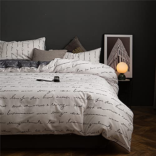 Cotton Geometric Duvet Cover Queen Abstract Love Letter Prin...