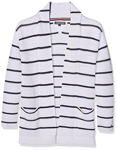 Tommy Hilfiger Girls Long Stripe Cardigan, Bianco (Bright White 122), 128 (Taglia Produttore: 8) Bambina