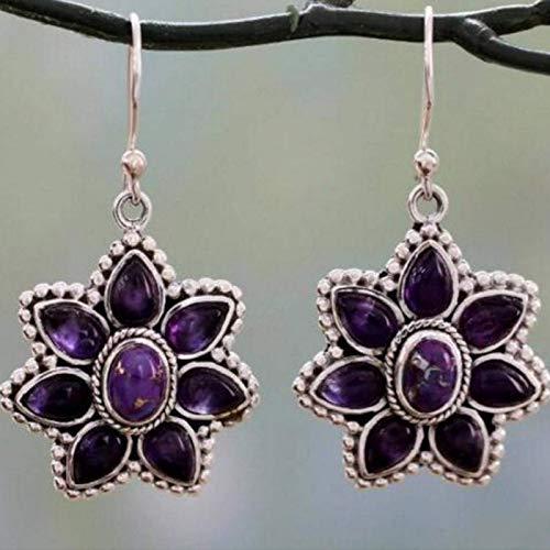 Retro Thai Silver Purple Dragon Petal Pendientes Pendientes femeninos europeos y americanos Pendientes de parquet púrpura