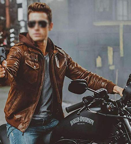 YOLL Free Give a gloves,Men's Real Leather Jacket with Removable Hood,Hooded Motorcycle Coat Biker Style Men,Brown Genuine Leather Ski 3-in-1 Jackets/Brown/L