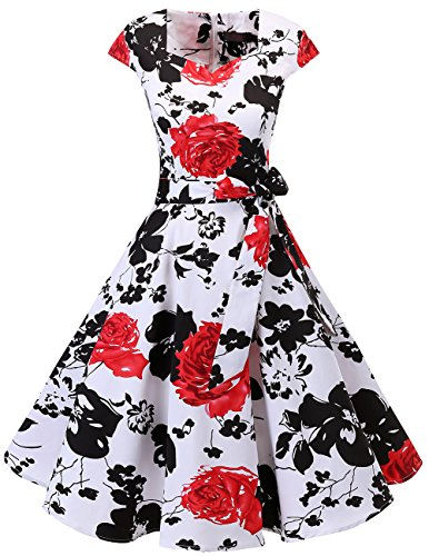 Dresstells Vintage 50er Swing Party kleider Cap Sleeves Rockabilly Retro Hepburn Cocktailkleider White Red Flower XS