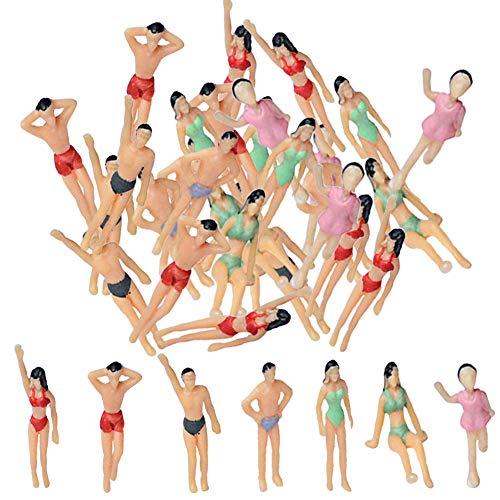 BESTZY 30pcs Persone passeggeri Figure 1: 75 Tiny People Pose Modello in Scala Multi Uso Figure dipinte a Mano