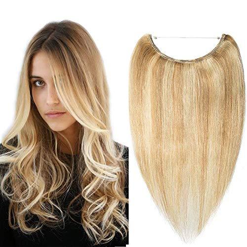 Haarteile Echthaar Haarverlängerung mit Draht keine Clips Glatt Weich Hair Extensions 100% Human Hair 40cm 60 Gramm 18P613# Graublond & Bleichblond