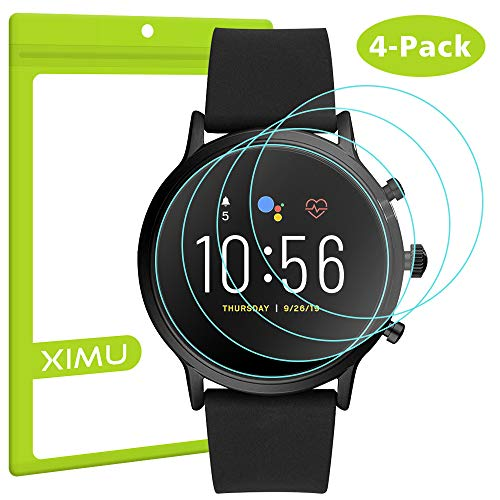 XIMU Screen Protector voor Fossil Man Gen 5 Carlyle, 4-pack Screen Protector Gehard glas voor Fossil Man Gen 5 Carlyie Smartwatch Waterdichte Crystal Clear Anti-Scratch Anti-Bubble