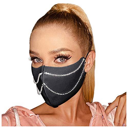 Ouneed1 Damen Mundschutz Mouth Shield Masken mit Diamond Mouth Protection Multifunktionstuch Women Bandanaa Waschbar Stoffmaske Mund-Nasen Mundmasken Mundschutz Halstuch (A)