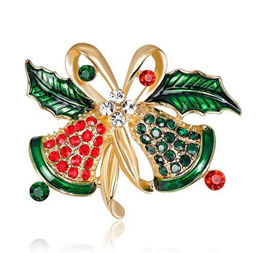 BJINUIY Joyas Broches Mujeres Niñas Caja de Regalo, Campana de Navidad Decoración navideña para Kit de Ramos de Boda DIY