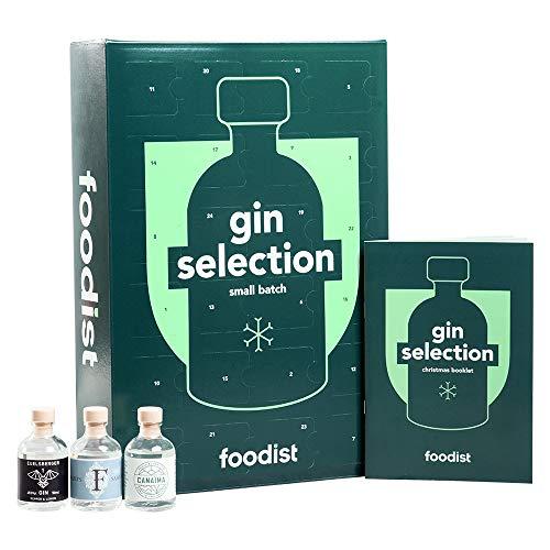 Foodist Premium Gin Adventskalender 2020 - Exklusive 24er Miniaturflaschen im Geschenk Set inkl. Cocktailrezepten und Tasting-Anleitung für Gin-Liebhaber
