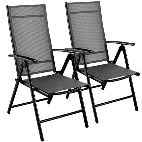 MVPower Juego de 2 Sillas Plegables,sillas de Jardín de Aluminio, Silla de Jardín Plegable, Respaldo Ajustable en 7 Posiciones,Silla Camping Resistente a la Intemperie,jardín Exterior Gris y Negro
