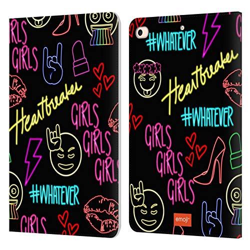 Head Case Designs Oficial Emoji Chicas Neón Carcasa de Cuero Tipo Libro Compatible con Apple iPad Mini (2019)