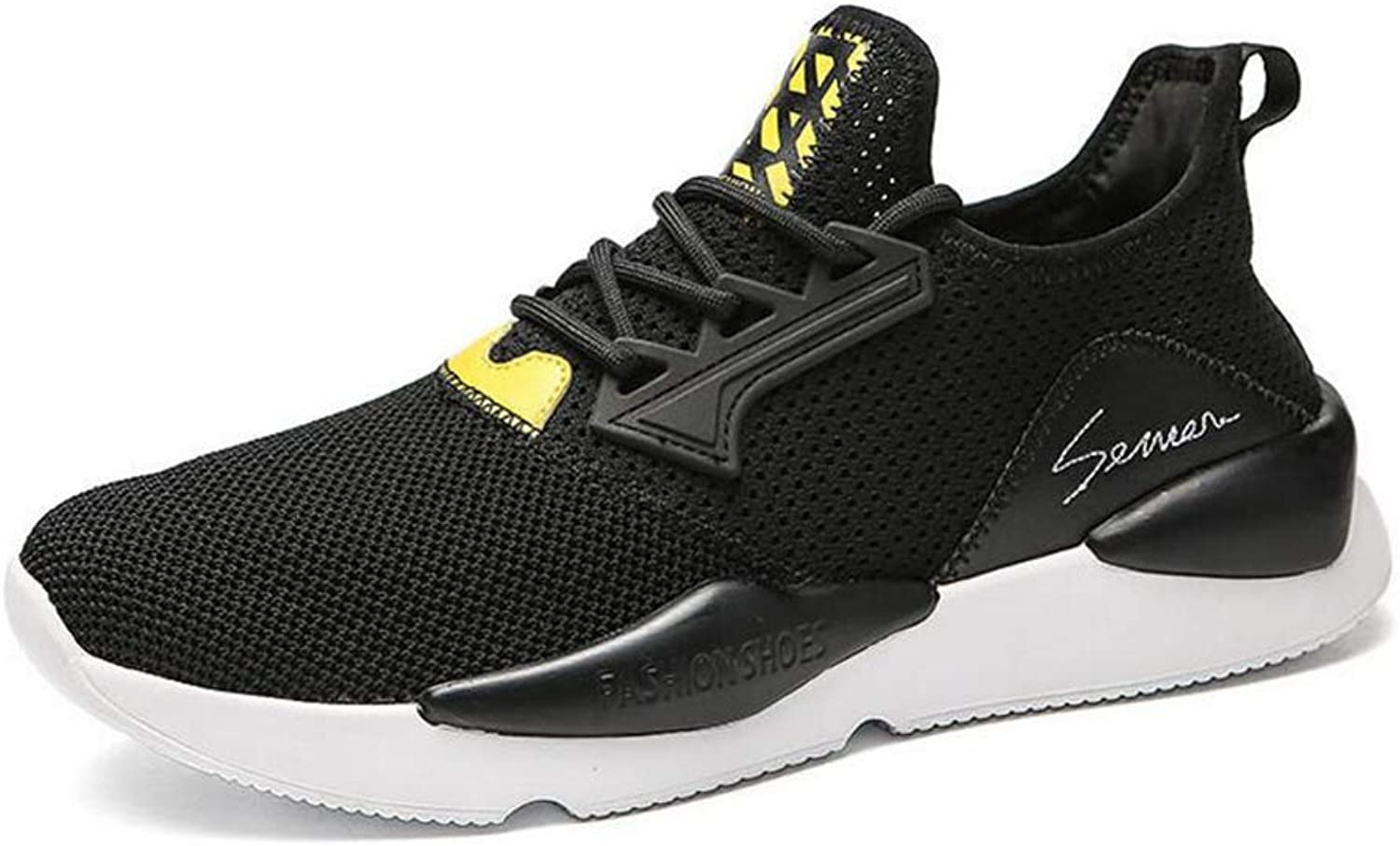 shoes Men's shoes, Summer New Sports shoes Mens Low To Help Fly Woven Mesh Casual Sneakers Students Fashion Wild Non-slip Running shoes outdoor (color   Black, Size   40)