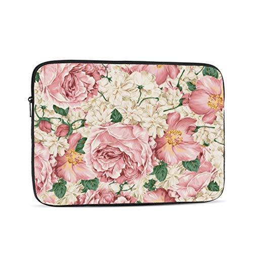 Vintage Pink Peonies And Ivory Hydrangeas 13 Inch Laptop Sleeve Bag Compatible with 13.3' Old MacBook Air (A1466 A1369) Notebook Computer Protective Case Cover