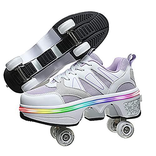 Zapatos con Ruedas de deformación, Zapatos de Patinaje para Hombres y Mujeres, Zapatos LED de 4 Colores, Zapatos con polea Invisible automática para niños Adultos Intermitentes C,40