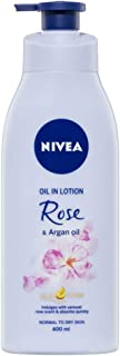 NIVEA Body Oil in Lotion Rose & Argan Oil. Fast-Absorbing & Scented Moisturiser for Normal to Dry Skin, 400ml