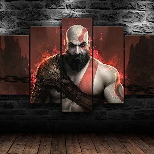 AWER Tejido no Tejido Impresión God Of War 4 Kratos Warcraft Juego Ps4 Canvas Wall Art,Decoracion de Pared,5 Piezas Lienzos Cuadros Pinturas,Cuadro sobre Lienzo,Listo para Colgar,en un Marco