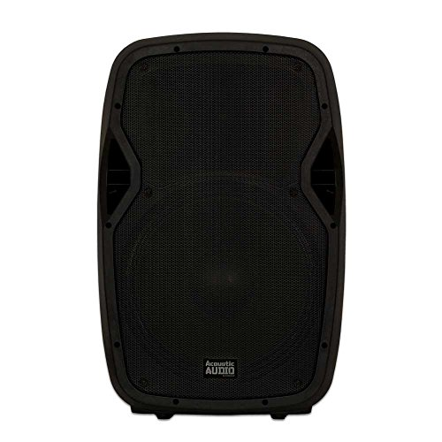 """Acoustic Audio by Goldwood AA15BT Powered 15"""" Bluetooth Speaker with Built in USB Player and FM, Black, 16"""" x 14"""" x 27"""""""