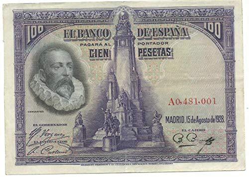 MATIDIA España Billete Original 100 pesetas 1928 Cervantes