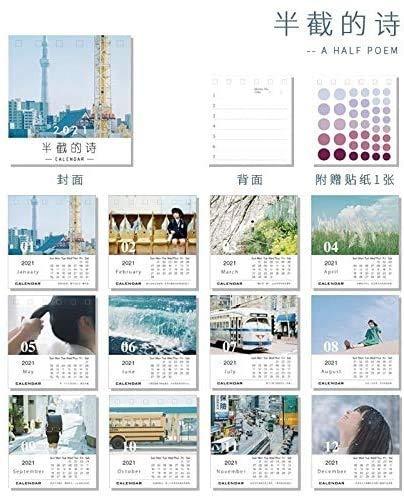 Calendarios 2021 Diseño Mini Pintura al óleo Escritorio Calendario Little Prince Calendar Horario Anual Agenda Organizer Office 2021 ZSMFCD (Color : 1)