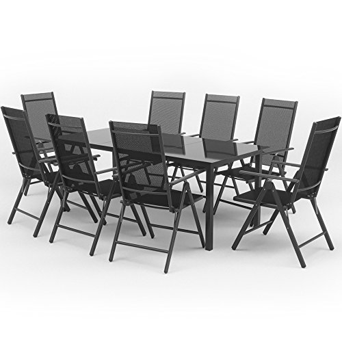 Oskar Alu Sitzgarnitur Gartenmöbel Set 9-teilig Garnitur Sitzgruppe 1 Tisch 190x87 + 8 Stühle (Anthrazit)