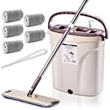 MASTERTOP Mop and Bucket with Wringer Set - Microfiber Flat Mop Hand Free, Stainless Steel Handle, Separate Dirty Water from Clean Water, 5 Microfiber Mop Pads and 1 Cleaning Brush