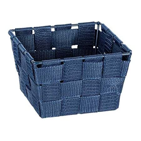 WENKO Panier de rangement Adria Mini square bleu foncé - Panier de salle de bain, carré, tresse en matière plastique, Polypropylène, 14 x 9 x 14 cm, Bleu foncé