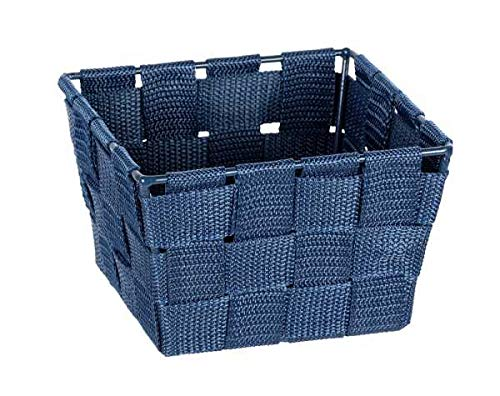 WENKO Cesta de baño Adria Mini azul oscuro - Cesta de baño, cuadrada, tejido de plástico, Polipropileno, 14 x 9 x 14 cm, Azul oscuro