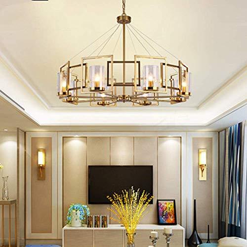 MQJ Personalidad Posmoderna Simple Iluminación de Vidrio Minimalista Lujo Sala de Estar Dormitorio Archilla de Araña de Hierro Forjado