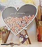 aqf528140 - Caja de boda con forma de corazón para libro de visitas de boda, libro de visitas personalizado con texto en inglés 'Sign In Wood Heart Drop Top'