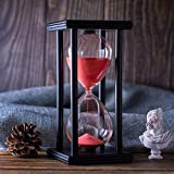 Hourglass Timer with Red Sand, 60 Minute Wooden Frame Sand Timer, Creative Handcraft Decoration