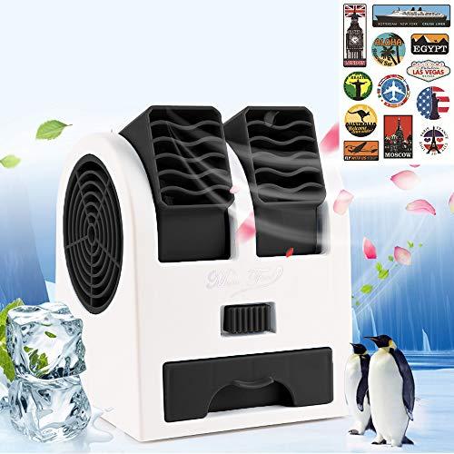 Tragbare Klimaanlage, USB Tragbare Mini Klimagerät 3 in 1 Raumluftkühler, Luftbefeuchter und Luftreiniger, Tragbarer Tischventilator für Büro,Hotel und Haus (Schwarz)