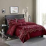 Loussiesd - Juego de cama con diseño de flores, diseño de flores, 3 piezas, color rojo vino, con 2 fundas de almohada con cremallera de microfibra