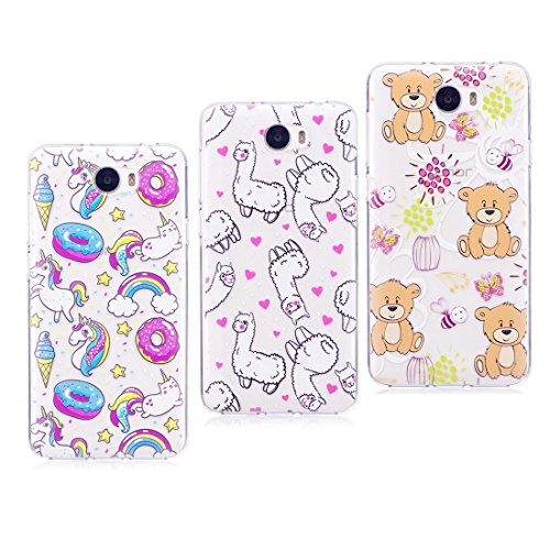 [3-Pack] Silicona suave Carcasa para Huawei Y5 II/Y5 2, funda para Y5 ii 2 (cun-l21) cun-l01 Preciosas niñas Cover flexible silicón TPU Case a prueba de choques ( Panda + Unicornio + Gato )