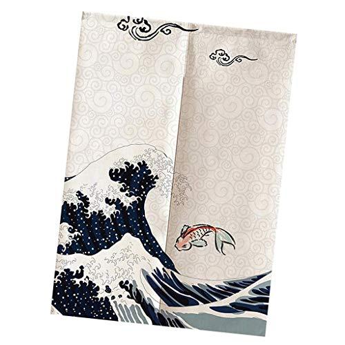 Inzopo Noren - Cortina japonesa para puerta corta (algodón, lino, 75 x 120 cm, 75 x 120 cm)