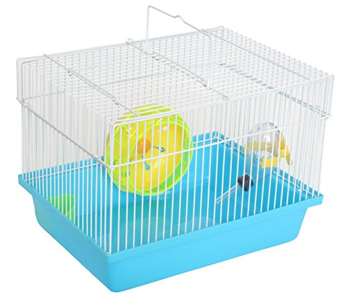 """YML Single Story Dwarf Hamster Cage with Small Wheel/Dish and Water Bottle/Plastic Base, Blue, 10.5"""" x 8"""" x 7.75"""""""