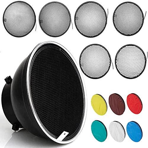 AMBITFUL Difusor reflector estándar de 18 cm con rejilla de panal de grado + 6 filtros de color para Bowens Mount Studio Light Strobe Flash