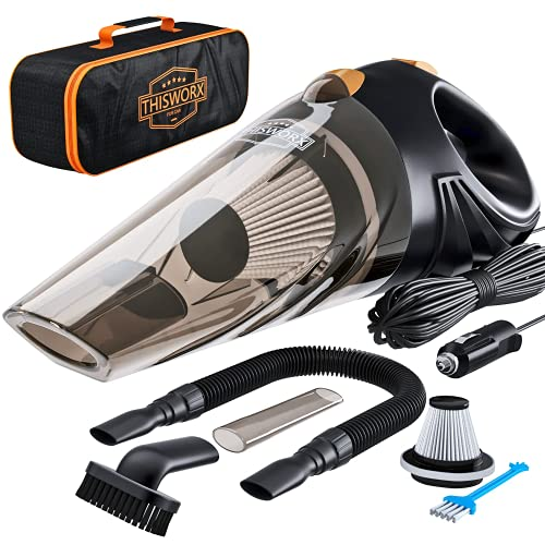ThisWorx Car Vacuum Cleaner - Portable, Lightweight, Powerful, Handheld Vacuums w/Strong Suction, 3 Attachment Accessories, Carry Case - 12V, 4.8m Cord - Car Cleaning Kit