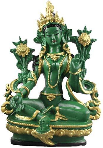 Buddhismus Statuen Geschenk-Haus-Dekoration Ornamente, 13,5 cm Höhe Grüne Tara Kleine Harz Statuen Statuen tantrischen Buddha Statue,Grün