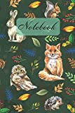 Notebook: Wild Animals - Owl Rabbit Fox Ssquirrel Hedgehog - Diary / Notes / Track / Log / Journal , Book Gifts For Women Men Kids Teens Girls Boys 6x9' 120 Pages
