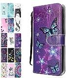 Ancase Lederhülle kompatibel für Samsung Galaxy S8 Hülle 3D Muster Lila Schmetterling Handyhülle Flip Hülle Cover Schutzhülle mit Kartenfach Ledertasche für Mädchen Damen