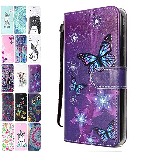 Ancase Custodia Portafoglio per Apple iPhone 6S 6 Flip Cover in Pelle aLibro 3D Modello Wallet Case Porta Carte per Donna Ragazza Uomo - Farfalla Viola