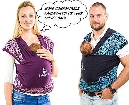 Halten sie ihr Kleinkind ruhig & bleiben sie dabei freihändig – stylisches multifunktionales Babytragetuch – Baumwoll Tragetuch für Neugeborene und Kleinkinder – Tragetasche inklusive – LILA - 4
