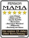 RAHMENLOS Original Blechschild für die Mutter: Pension