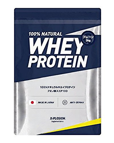 Explosion Whey Protein, 6.6 lbs (3 kg), Approx. 100 Servings, Plain Flavor, Large Capacity, Made in Japan