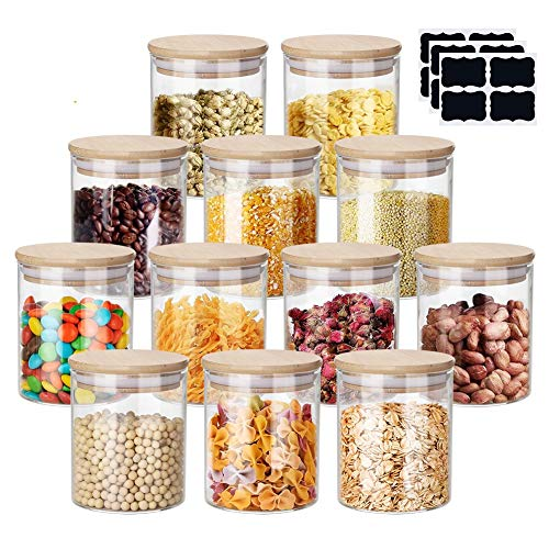 Glass Spice Jars Set, Yibaodan 12 Set 6oz Glass Storage Jars with Bamboo Airtight Lids and Labels Pens, Mini Clear Food Storage Containers for Home Kitchen Tea Herbs Pasta Coffee Flour Herbs Grains