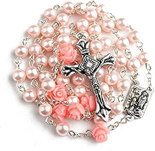 Pink Color Holy Rosary with Lourdes Medal