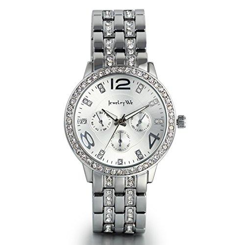 JewelryWe Damen Armbanduhr, Luxus Elegant Business Casual Analog Quarz Uhr mit Edelstahl Strass Armband, Silber